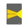 Leitz Spirálfüzet, A5, kockás, 90 lap, PP borító, LEITZ Office, szürke-sárga
