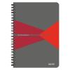 """Leitz Spirálfüzet, A5, vonalas, 90 lap, laminált karton borító,  """"Office"""", szürke-piros"""