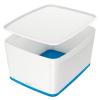 """Leitz Tároló doboz, fedővel, nagy, LEITZ """"MyBox"""", fehér-kék"""