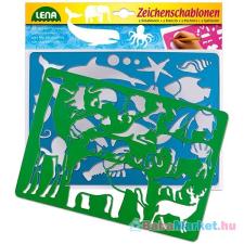 LENA : 2 db-os rajzolósablon - afrikai és tengeri állatok készségfejlesztő