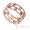 Levél mintás cirkónia gyűrű, Pezsfő arany, Rose gold , 6,5