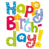 Leykam Alpina (BSB) BSB ajándékkísérő (6,5x8 cm) Happy Birthday, színes feliratos (állvány)