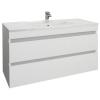 Leziter Cube 100 alsó fürdőszobabútor kerámia mosdóval 2 fiókos, magasfényű festett fehér