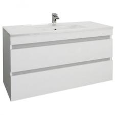 Leziter Cube 100 alsó fürdőszobabútor kerámia mosdóval 2 fiókos, magasfényű festett fehér bútor