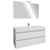 Leziter Cube Fürdőszobabútor 100 cm kerámia mosdóval (2 fiókos) ledes tükörrel 60x100 cm magasfényű festett fehér