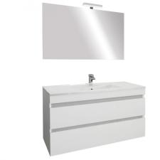 Leziter Cube Fürdőszobabútor 100 cm kerámia mosdóval (2 fiókos) ledes tükörrel 60x100 cm magasfényű festett fehér bútor