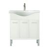 Leziter Nerva 75 cm-es bútorhoz alsószekrény, mosdóval, Tükörfényes fehér színben