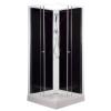 Leziter 'Polo Black II szögletes fekete hátfalas zuhanykabin, akril zuhanytálcával'