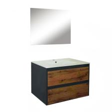 Leziter Porto Prime 80 komplett fürdőszoba bútor antracit-country tölgy színben bútor