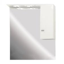 Leziter Toscano fürdőszoba tükör 81 cm LED megvilágítással, szekrénnyel, amely jobbra vagy balra helyezhető, magasfényű festett fehér bútor