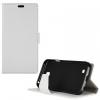 LG K3, Oldalra nyíló tok, stand, bőrhatású, fehér