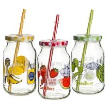 . Limonádés bögre, szívószállal, csavaros tetővel, gyümölcs mintás, 2db-os szett, 40cl konyhai eszköz