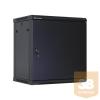 Linkbasic fali rack szekrény 19'' 15U 600x450mm, fekete, acél ajtó