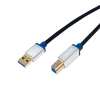 LogiLink - Premium USB 3.0 Connection Cable; USB A Male to USB B Male; 2m