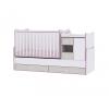 Lorelli Lorelli MiniMax kombi ágy 72x190 - White & Pink Crossline / Fehér & Pink csíkozás