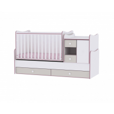 Lorelli Lorelli MiniMax kombi ágy 72x190 - White & Pink Crossline / Fehér & Pink csíkozás kiságy, babaágy