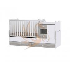 Lorelli MiniMax kombi ágy 72x190 - White & Artwood / Fehér & Artwood kiságy, babaágy