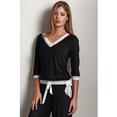 Luisa Moretti ROZALIE női pizsama bambuszból S Fekete / Black