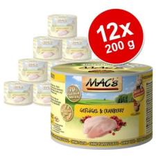MAC's MAC´s Cat gazdaságos csomag 12 x 200 g - Szárnyas & áfonya macskaeledel