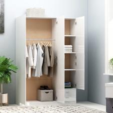 Magasfényű fehér forgácslap 3-ajtós ruhásszekrény 120x50x180 cm bútor