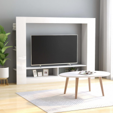 Magasfényű fehér forgácslap TV-szekrény 152 x 22 x 113 cm bútor