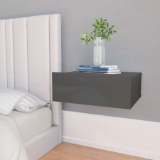 Magasfényű szürke forgácslap úszó éjjeliszekrény 40x30x15 cm bútor