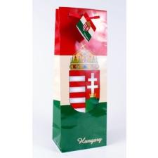 Magyar címeres piros-fehér-zöld italos dísztasak 124x76x362 ajándéktasak