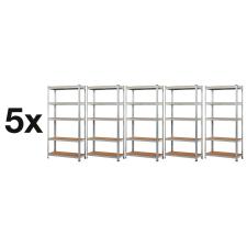 MAMUUT SHELVES AKCIÓS CSOMAG, 5 DARAB SALGÓ POLC 2000x900x600 mm horganyzott 5-polc, teherbírás 875 kg bútor