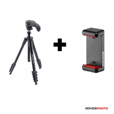 Manfrotto Compact Action állvány + Univerzális Okostelefon tartó fotó állvány