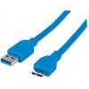 MANHATTAN USB 3.0 kábel, USB  - micro USB , 1 m, MANHATTAN, kék