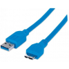 MANHATTAN USB 3.0 kábel, USB  - microB , 1 m, MANHATTAN, kék