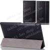 Mûanyag védõ tok / bõr hátlap - oldalra nyíló flip cover, TRIFOLD asztali tartó funkciós - FEKETE - ASUS Memo Pad 7 (ME572C / ME572CL)