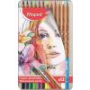 """MAPED Akvarell ceruza készlet, ecsettel, fém doboz,  """"Artists"""", 12 különböző szín"""