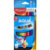 """MAPED Akvarell ceruza készlet, háromszögletű, ecsettel, MAPED """"Color'Peps"""", 12 különböző szín (IMA836011)"""