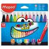 MAPED Filctoll készlet, 1-6 mm, kimosható, vastag,  Color`Peps Maxi, 12 különböző szín