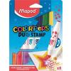 """MAPED Filctoll készlet, 7,5 mm, kétvégű, MAPED """"Color`Peps Duo Stamp"""" 8 különböző szín és minta"""