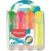 """MAPED Szövegkiemelő készlet, 1-5 mm, átlátszó ház, MAPED """"Fluo Peps Ultra Soft"""", 4 különböző szín"""