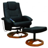 Masszázsfotel, tv néző fotel lábtartóval fekete