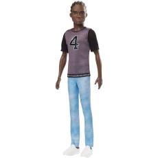 Mattel Barbie Fashionistas barátok - Barna hajú fiú baba fekete pólóban (130)