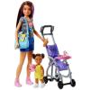 Mattel Barbie Skipper: lila-barna hajú Barbie babakocsiban ülő kislánnyal