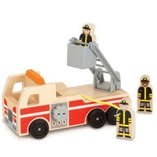 Melissa & Doug Fa jármű, létrás tűzoltóautó autópálya és játékautó