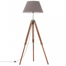 Mézbarna-szürke háromlábú tömör tíkfa állólámpa 141 cm világítás