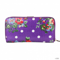 Miss Lulu London L1109F - Miss Lulu Oilcloth pénztárca Flower Polka Dot lila