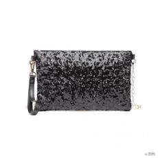 Miss Lulu London LH1765 BK- Miss Lulu Lánc szíj táska Shinning Táska Clutch táska val Zipper Enkivitel fekete