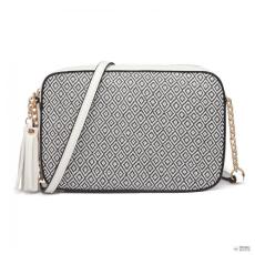 Miss Lulu London LT1862S-MISS LULU bőr TASSEL ORnévNT Lánc válltáska táska fehér/fekete