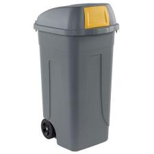 Mobil Plastic Műanyag kültéri hulladékgyűjtő, 100 l űrtartalom, szürke/sárga% szemetes