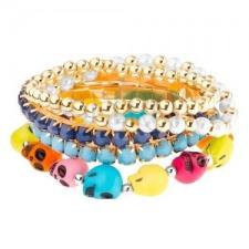 Multikarkötő - rugalmas, kerek gyöngyök, gyöngyök foglalatban, színes koponya karkötő