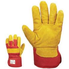 MV bőrkesztyű (330M), téli , sárga marhahasíték/piros vászon, polár 8-as