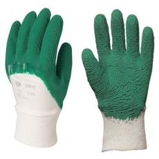MV mártott zöld krepp latex kesztyű 3807, 3808, 3809, 3810 erős, érdes, SZELLŐZŐ kézhát 7-10 méretek *2