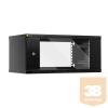 Netrack fali rack szekrény, 19'', 4.5U/400 mm - szénfekete, üveg ajtó